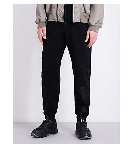MARCELO BURLON Zip-detailed relaxed-fit high-rise cotton-jersey jogging bottoms (Black+no+colour