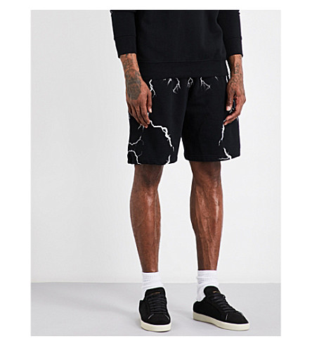 MARCELO BURLON Lightning cotton-jersey shorts (Black+multicolour