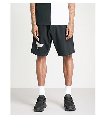 MARCELO BURLON Double Wing mid-rise cotton-jersey shorts (Black+multi
