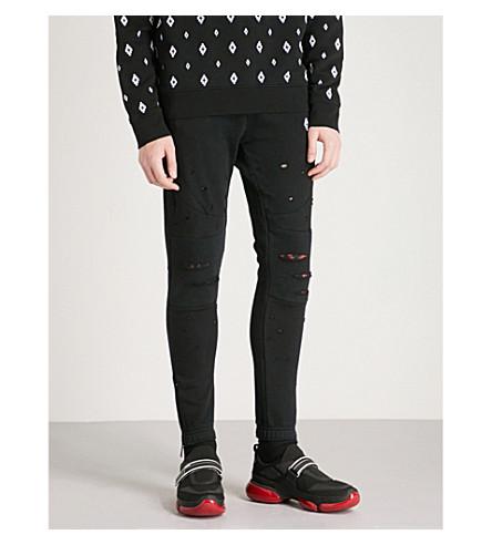 MARCELO BURLON Relaxed-fit cotton-jersey jogging bottoms (Black+multi