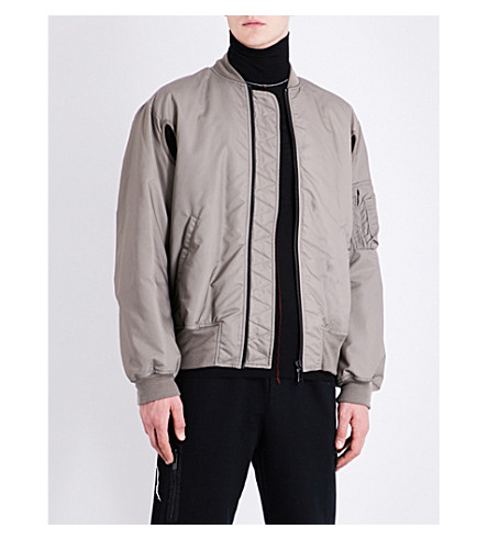 MARCELO BURLON Graphic-print shell bomber jacket (Medium+grey+multicolour