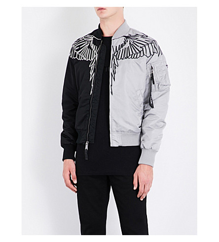 MARCELO BURLON Embroidered-detail shell bomber jacket (Multicolour+multi