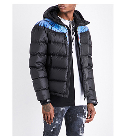 MARCELO BURLON Wing-print quilted hooded shell jacket (Multicolour+no+colour