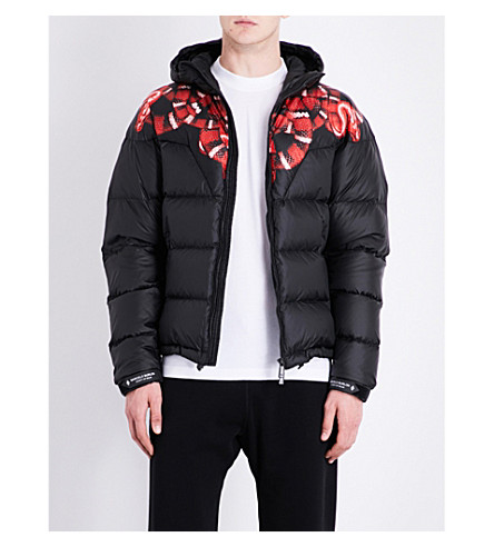 MARCELO BURLON Snake-print hooded quilted shell jacket (Multicolour+no+colour