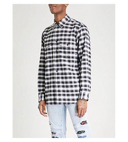 MARCELO BURLON Puma Check oversized cotton shirt (Black+black