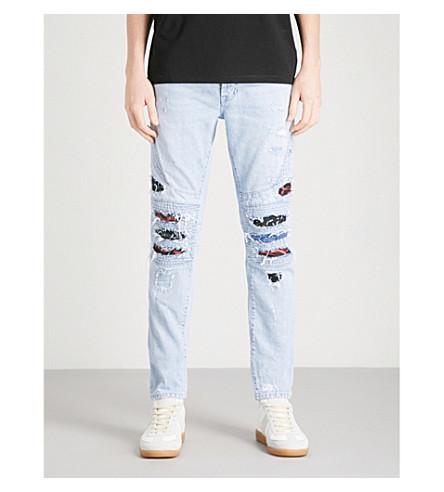MARCELO BURLON Blue Snake biker-fit skinny jeans (Strong+wash+m