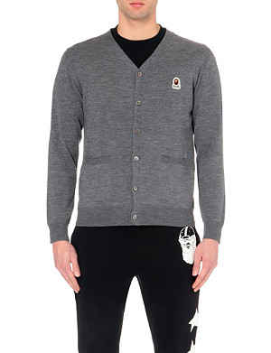 A BATHING APE V-neck wool cardigan
