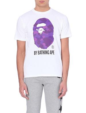 A BATHING APE Ape face print cotton t-shirt