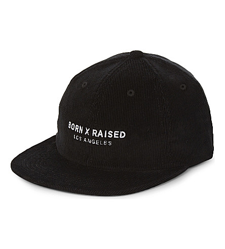 BORN X RAISED Corporate Strapback corduroy cap (Black