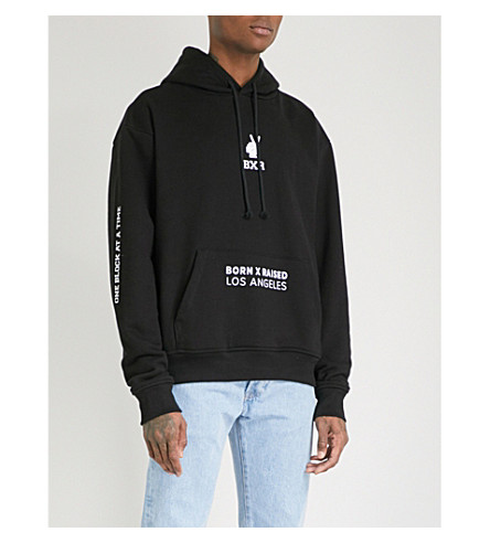 BORN X RAISED Trademarks printed cotton-jersey hoody (Black