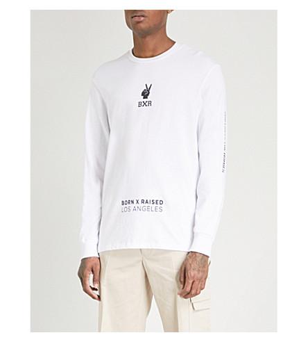 BORN X RAISED Trademarks printed cotton-jersey T-shirt (White
