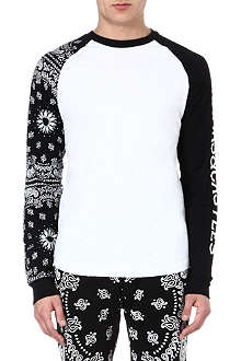 CROOKS AND CASTLES Contrast-sleeved top