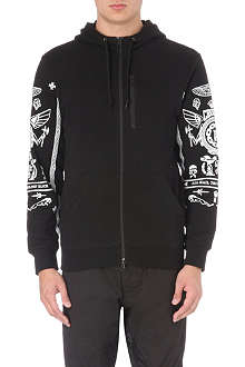 CROOKS AND CASTLES Printed sleeve cotton-blend hoody