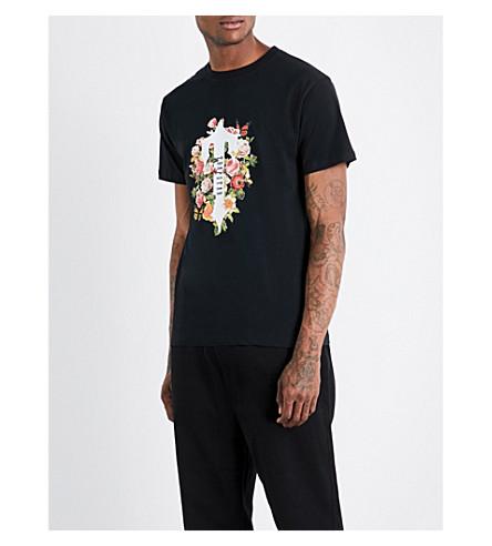 TRAPSTAR Rose and logo-print cotton T-shirt (Black