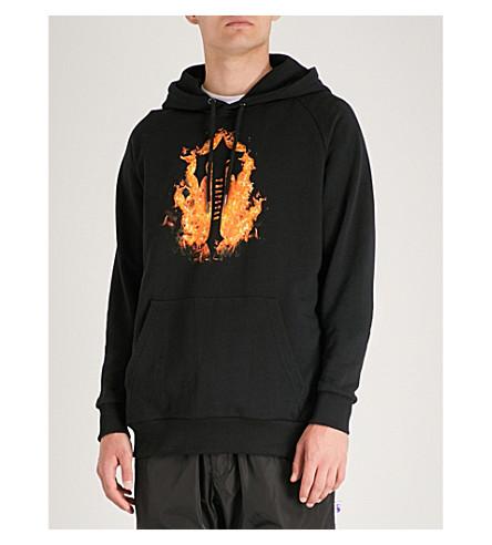 Sudadera Fire estampada capucha TRAPSTAR llamas con Negro con 6rw6UA