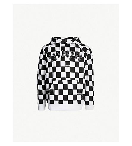 TRAPSTAR Irongate checkerboard cotton-jersey hoody (Black white