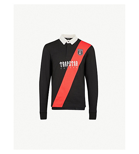 TRAPSTAR Striped cotton-jersey rugby shirt (Black