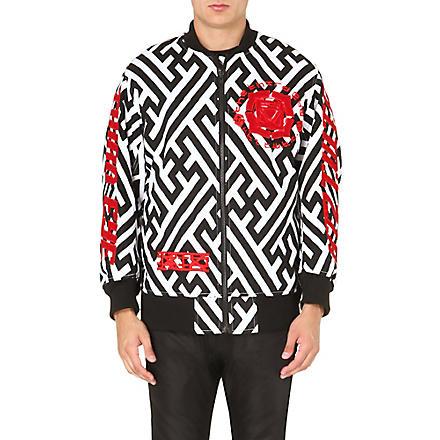 KTZ Geometric-print embroidered bomber jacket (White/black/red