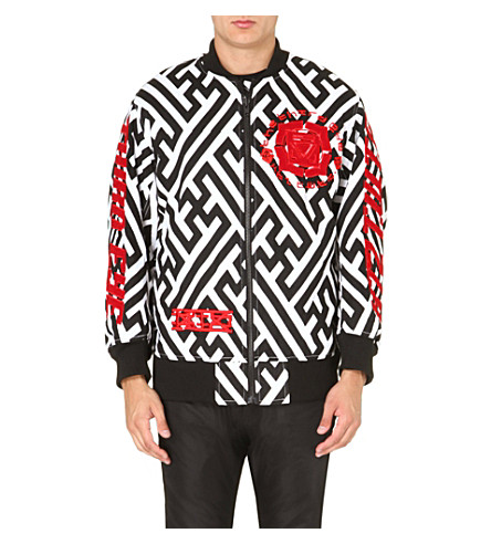 KTZ Geometric-print embroidered bomber jacket (White/black/red