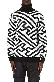 KTZ Geometric-intarsia roll-neck jumper