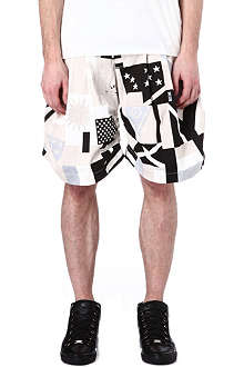 KTZ Flag print denim shorts