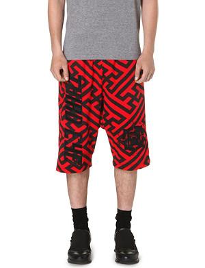 KTZ Geometric dropped crotch shorts