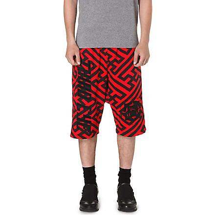 KTZ Geometric dropped crotch shorts (Black/red