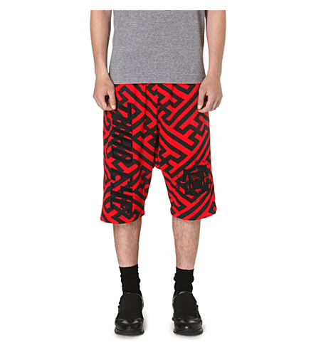 KTZ Geometric dropped crotch shorts (Black/red