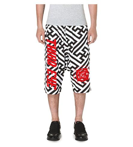 KTZ Geometric dropped crotch shorts (White/black