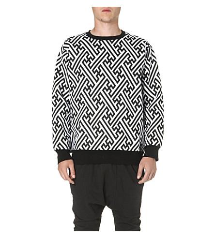KTZ Geometric print cotton sweatshirt (White/black