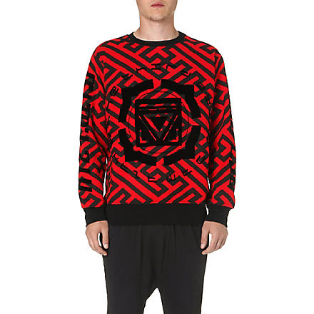 KTZ Geometric print cotton sweatshirt (Black/red