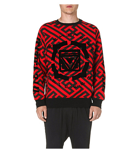 KTZ Geometric print cotton sweatshirt (Black/red