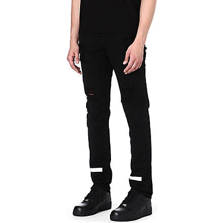 OFF-WHITE C/O VIRGIL ABLOH Striped Bull slim-fit tapered jeans (Black