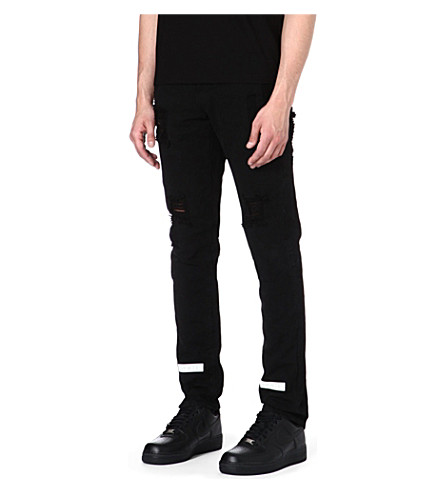 OFF-WHITE C/O VIRGIL ABLOH Striped Bull slim-fit tapered jeans (Black