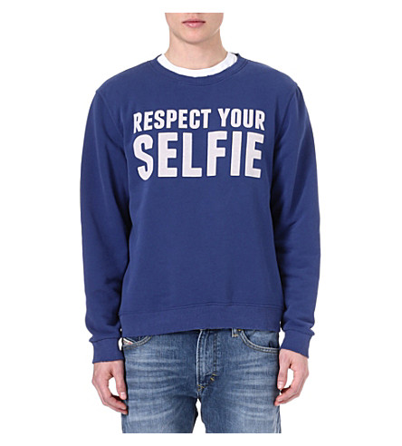 SELFRIDGES Respect Your Selfie sweatshirt (Blue/ off white