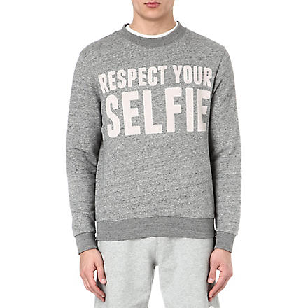 SELFRIDGES Selfies logo sweatshirt (Grey/off+white