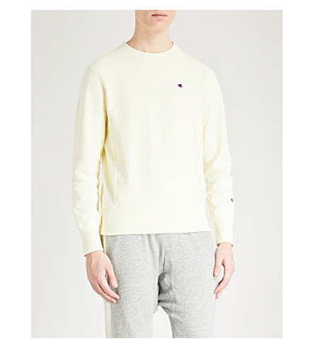 CHAMPION Crewneck cotton-jersey sweatshirt (Pale+yellow