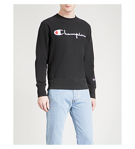 CHAMPION Logo embroidered cotton-jersey sweatshirt (Black