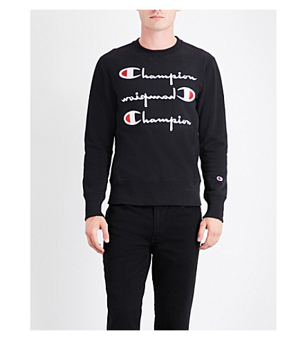 CHAMPION Triple logo-embroidered cotton-jersey sweatshirt (Black