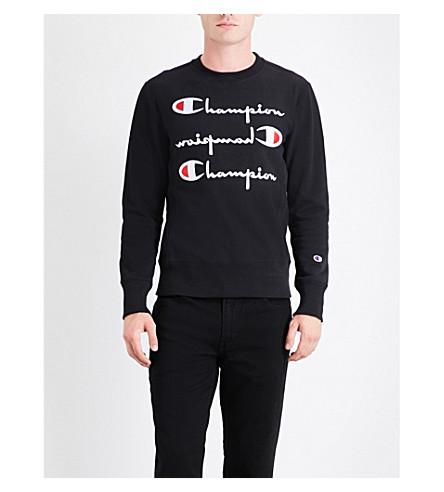 CHAMPION Triple logo-embroidered cotton-jersey sweatshirt (Black