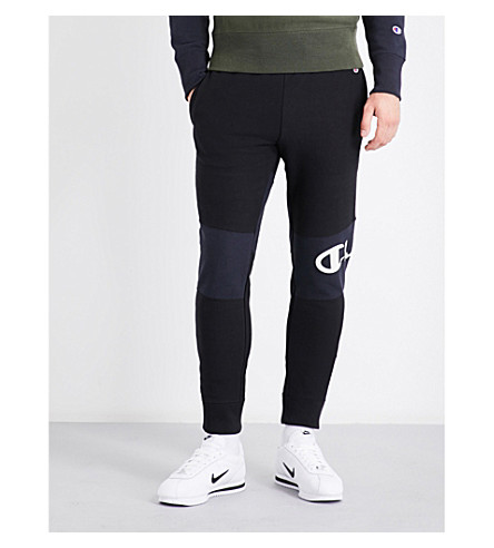 CHAMPION Logo-embroidered mid-rise cotton-jersey jogging bottoms (Navy+grey