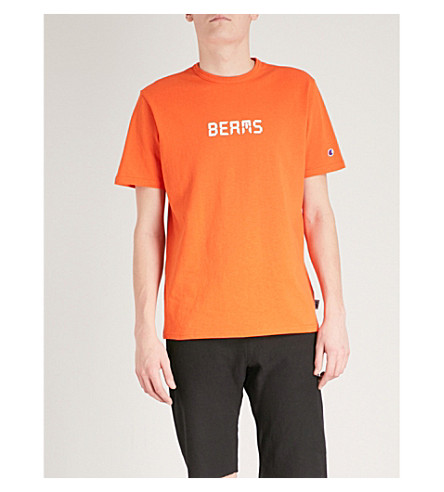 CHAMPION X BEAMS Printed cotton-jersey T-shirt (Orange