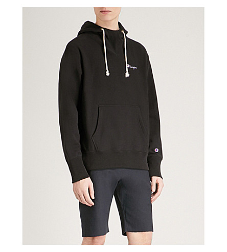 CHAMPION Brand-embroidered cotton-jersey hoody (Black