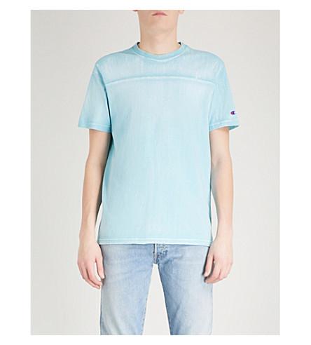 CHAMPION Tie-dye cotton-jersey T-shirt (Blue
