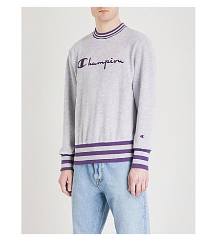 CHAMPION Logo-print cotton-fleece sweatshirt (Grey