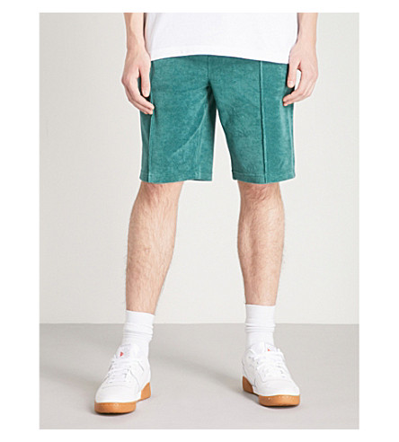 CHAMPION Logo-embroidered velour shorts (Green