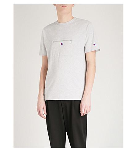 CHAMPION X BEAMS Zip-front cotton-jersey T-shirt (Grey