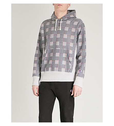 CHAMPION Checked cotton-blend hoody (Grey
