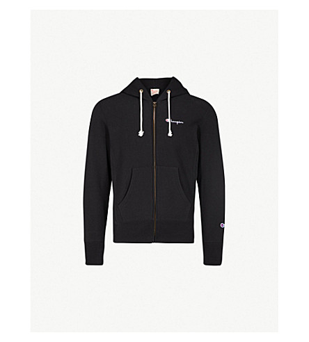 CHAMPION Logo-embroidered cotton-jersey hoody (Black