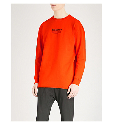 MAHARISHI Logo-embroidered cotton-jersey sweatshirt (Blaize+orange